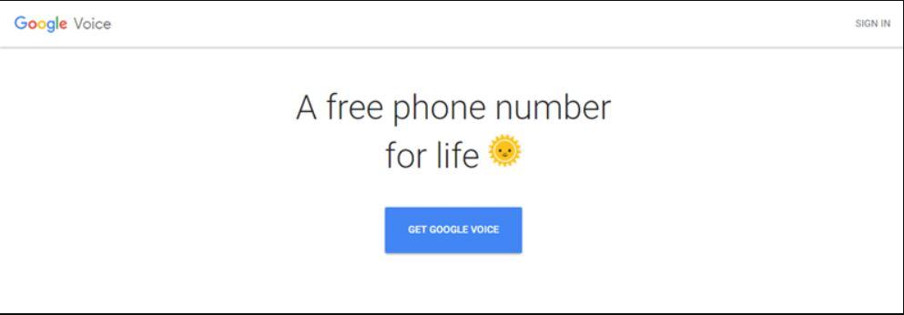 صفحة التسجيل في Google Voice