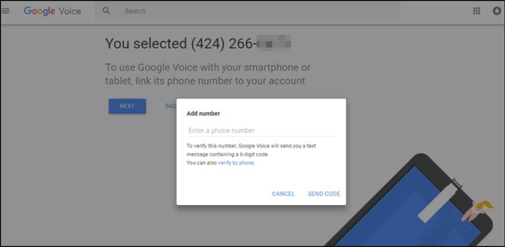 تأكيد الرقم الامريكي على موقع Google Voice