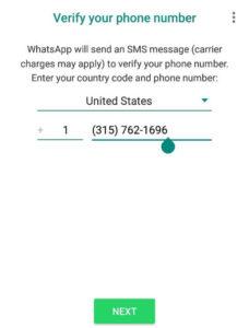 اضافة رقم امريكي على حساب واتساب