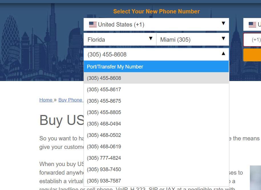 موقع على الأنترنت يبيع ارقام امريكية